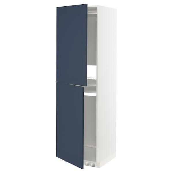 METOD High cabinet for fridge/freezer, white Axstad/matt blue, 60x60x200 cm