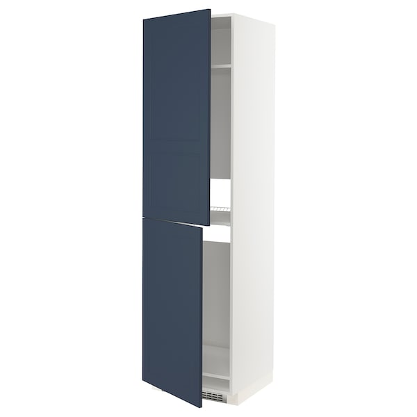 METOD High cabinet for fridge/freezer, white Axstad/matt blue, 60x60x220 cm