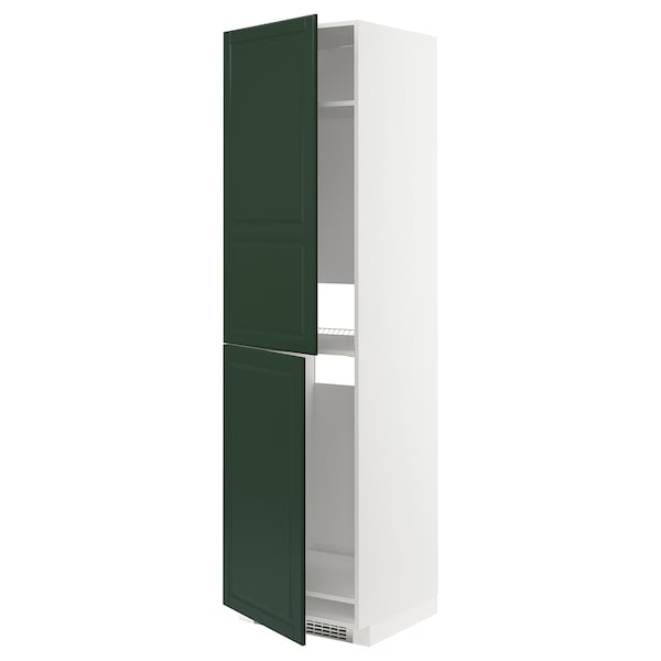 METOD High cabinet for fridge/freezer, white/Bodbyn dark green, 60x60x220 cm