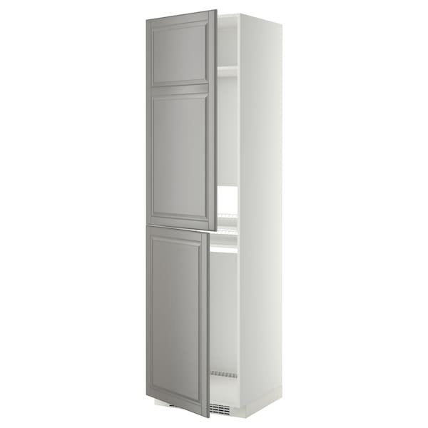 METOD High cabinet for fridge/freezer, white/Bodbyn grey, 60x60x220 cm