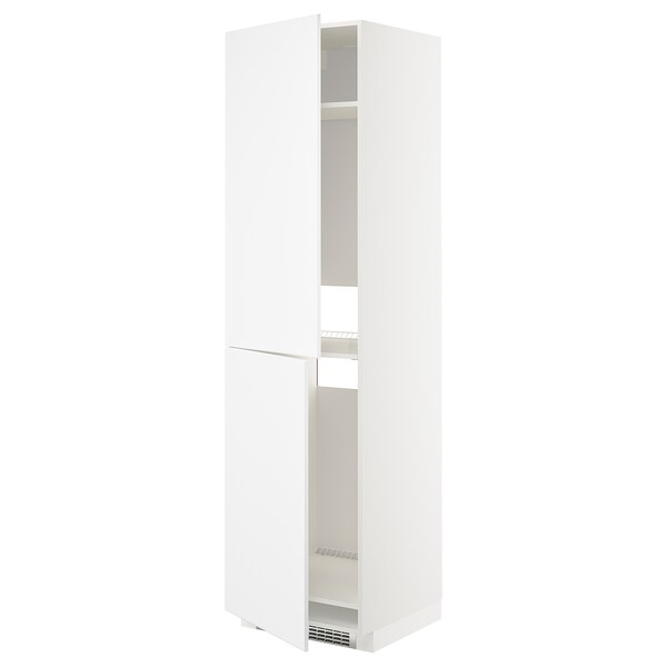 METOD High cabinet for fridge/freezer, white/Kungsbacka matt white, 60x60x220 cm