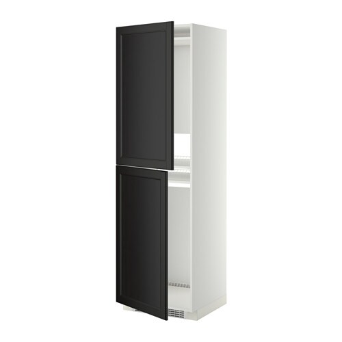 Metod high cabinet for fridge freezer white laxarby black for Ikea chest freezer