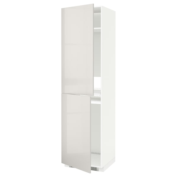METOD High cabinet for fridge/freezer, white/Ringhult light grey, 60x60x220 cm