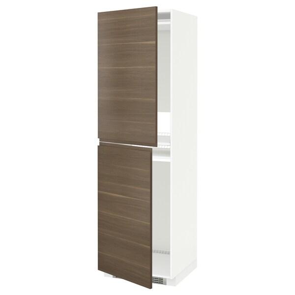 METOD High cabinet for fridge/freezer, white/Voxtorp walnut, 60x60x200 cm