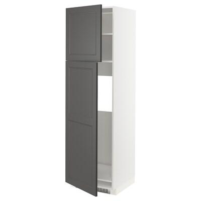 METOD High cabinet for fridge w 2 doors, white/Axstad dark grey, 60x60x200 cm