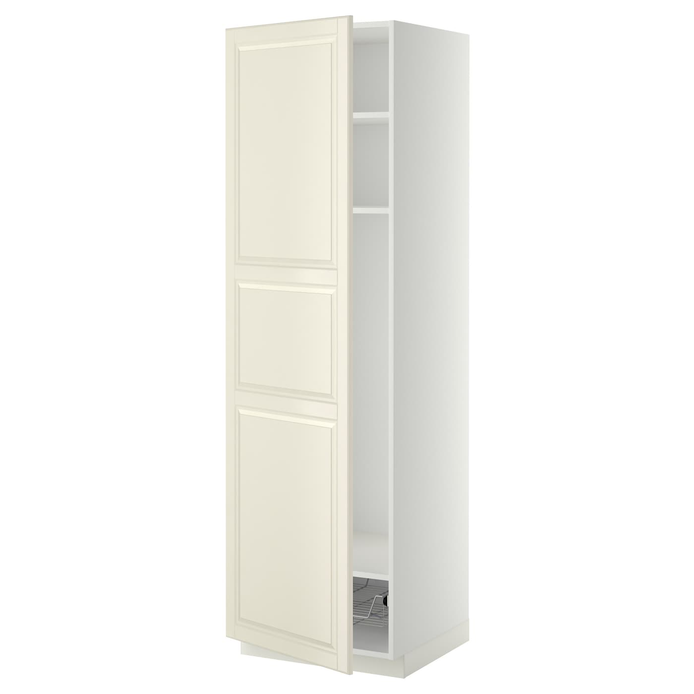 High Cabinet Kitchen: METOD High Cabinet W Shelves/wire Basket White/bodbyn Off