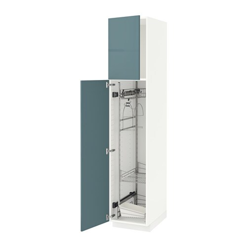 METOD High cabinet with cleaning interior White kallarp grey turquoise