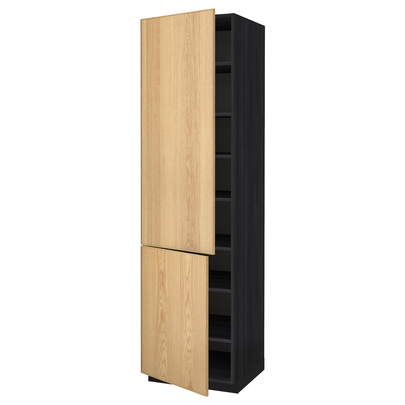 metod high cabinet with shelves 2 doors black ekestad oak. Black Bedroom Furniture Sets. Home Design Ideas
