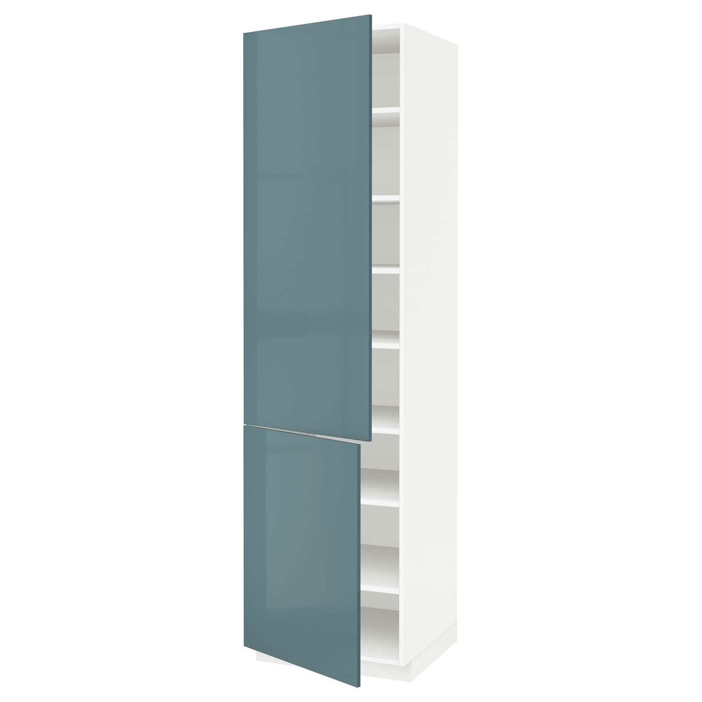 Metod high cabinet with shelves 2 doors white kallarp grey for Ikea turquoise shelf