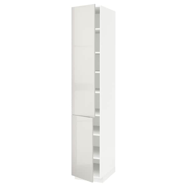 METOD High cabinet with shelves/2 doors, white/Ringhult light grey, 40x60x220 cm