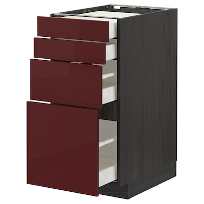 METOD / MAXIMERA Base cab 4 frnts/4 drawers, black Kallarp/high-gloss dark red-brown, 40x60 cm
