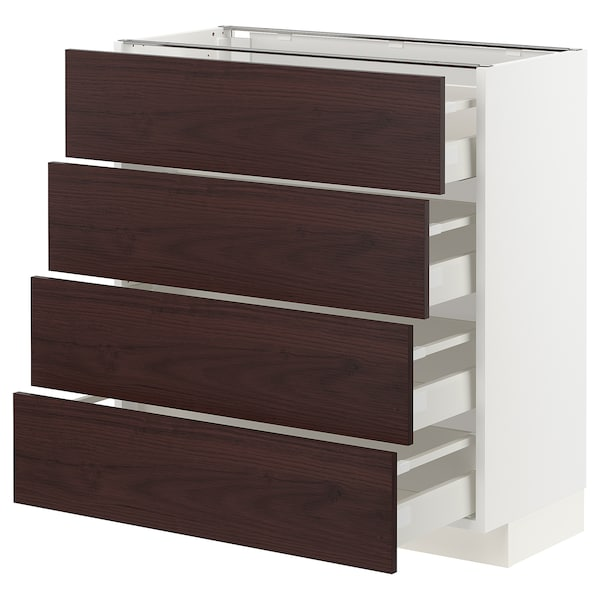 METOD / MAXIMERA Base cab 4 frnts/4 drawers, white Askersund/dark brown ash effect, 80x37 cm