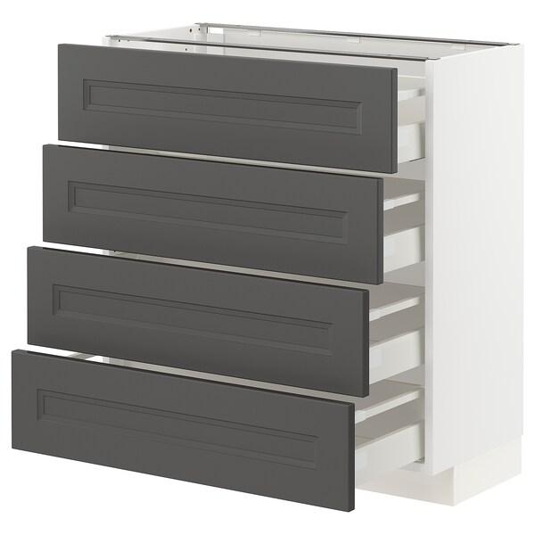 METOD / MAXIMERA Base cab 4 frnts/4 drawers, white/Axstad dark grey, 80x37 cm