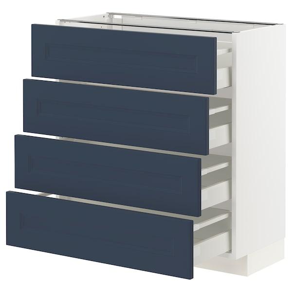 METOD / MAXIMERA Base cab 4 frnts/4 drawers, white Axstad/matt blue, 80x37 cm