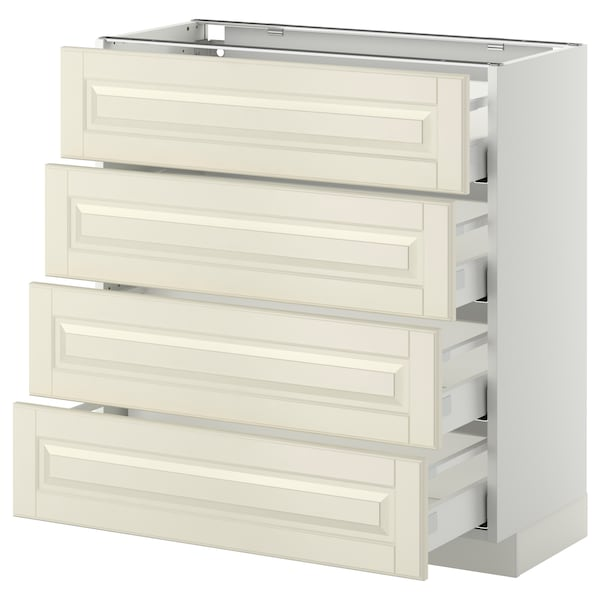METOD / MAXIMERA Base cab 4 frnts/4 drawers, white/Bodbyn off-white, 80x37 cm