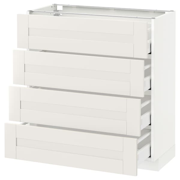 METOD / MAXIMERA Base cab 4 frnts/4 drawers, white/Sävedal white, 80x37 cm