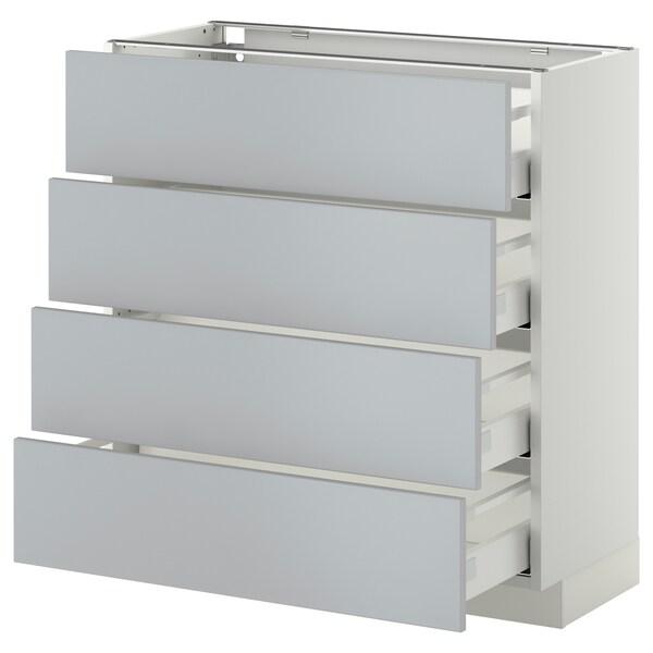 METOD / MAXIMERA Base cab 4 frnts/4 drawers, white/Veddinge grey, 80x37 cm