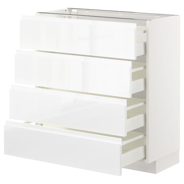 METOD / MAXIMERA Base cab 4 frnts/4 drawers, white/Voxtorp high-gloss/white, 80x37 cm