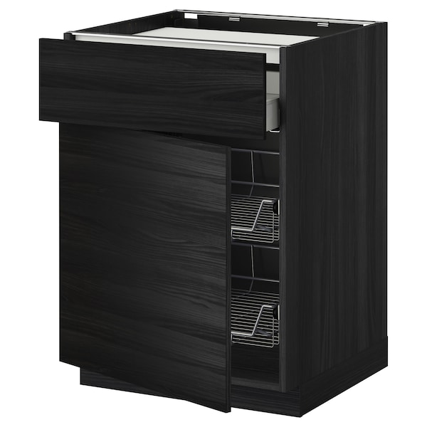 METOD / MAXIMERA base cab f hob/drawer/2 wire bskts black/Tingsryd black 60.0 cm 61.6 cm 88.0 cm 60.0 cm 80.0 cm