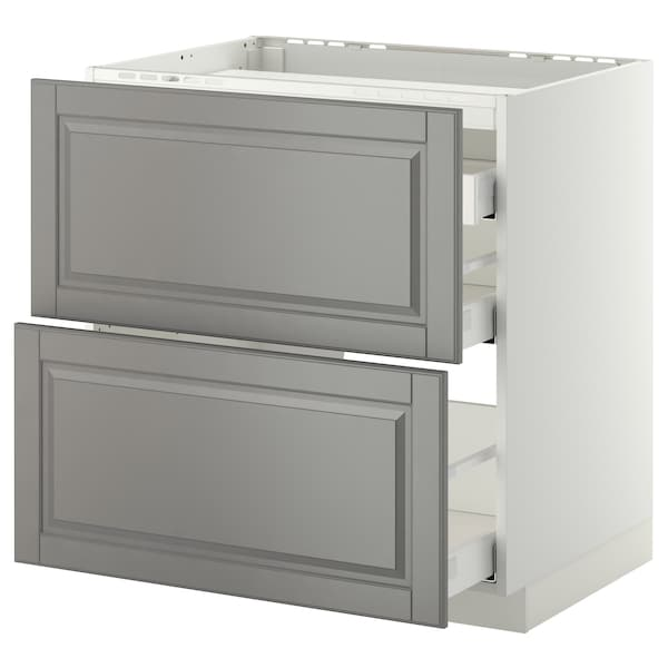 METOD / MAXIMERA base cab f hob/2 fronts/3 drawers white/Bodbyn grey 80.0 cm 61.8 cm 88.0 cm 60.0 cm 80.0 cm
