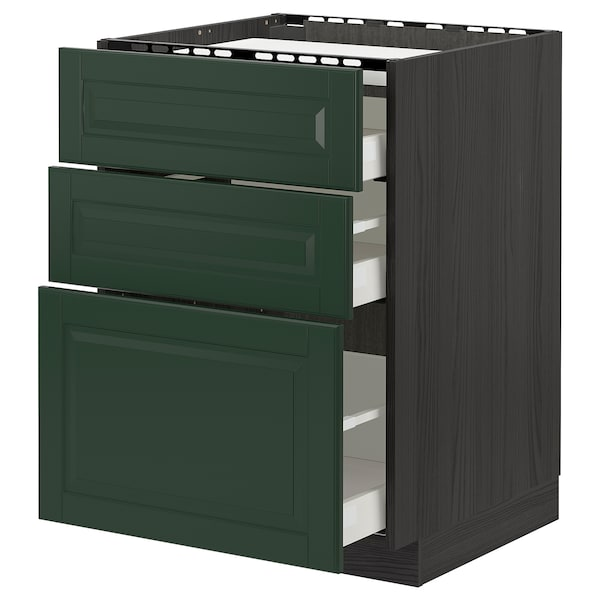 METOD / MAXIMERA base cab f hob/3 fronts/3 drawers black/Bodbyn dark green 60.0 cm 61.8 cm 88.0 cm 60.0 cm 80.0 cm