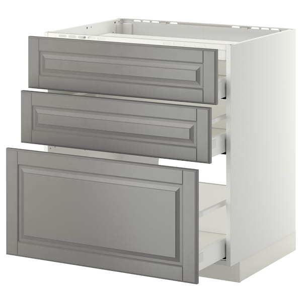 METOD / MAXIMERA Base cab f hob/3 fronts/3 drawers, white/Bodbyn grey, 80x60 cm
