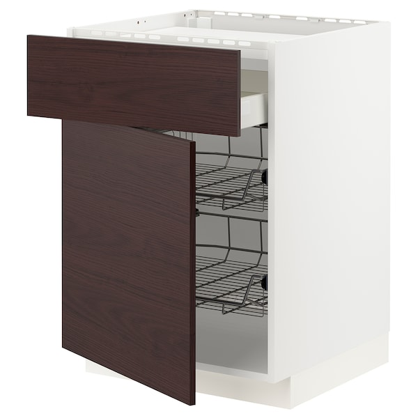 METOD / MAXIMERA Base cab f hob/drawer/2 wire bskts, white Askersund/dark brown ash effect, 60x60 cm