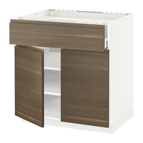 IKEA METOD/MAXIMERA base cab f hob/drawer/shelves/2 drs Smooth-running drawer with drawer stop.