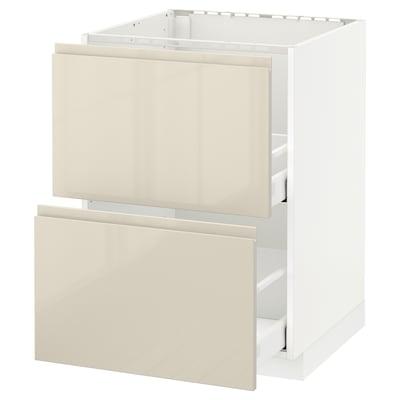 METOD / MAXIMERA base cab f sink+2 fronts/2 drawers white/Voxtorp high-gloss light beige 60.0 cm 62.1 cm 88.0 cm 60.0 cm 80.0 cm