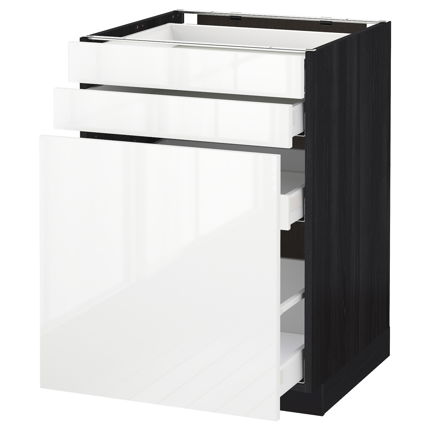 IKEA METOD/MAXIMERA base cab pull-out storage/2 fronts Smooth-running drawers with stop.