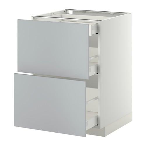metod maximera base cab with 2 fronts 3 drawers white veddinge grey 60x60 cm ikea. Black Bedroom Furniture Sets. Home Design Ideas
