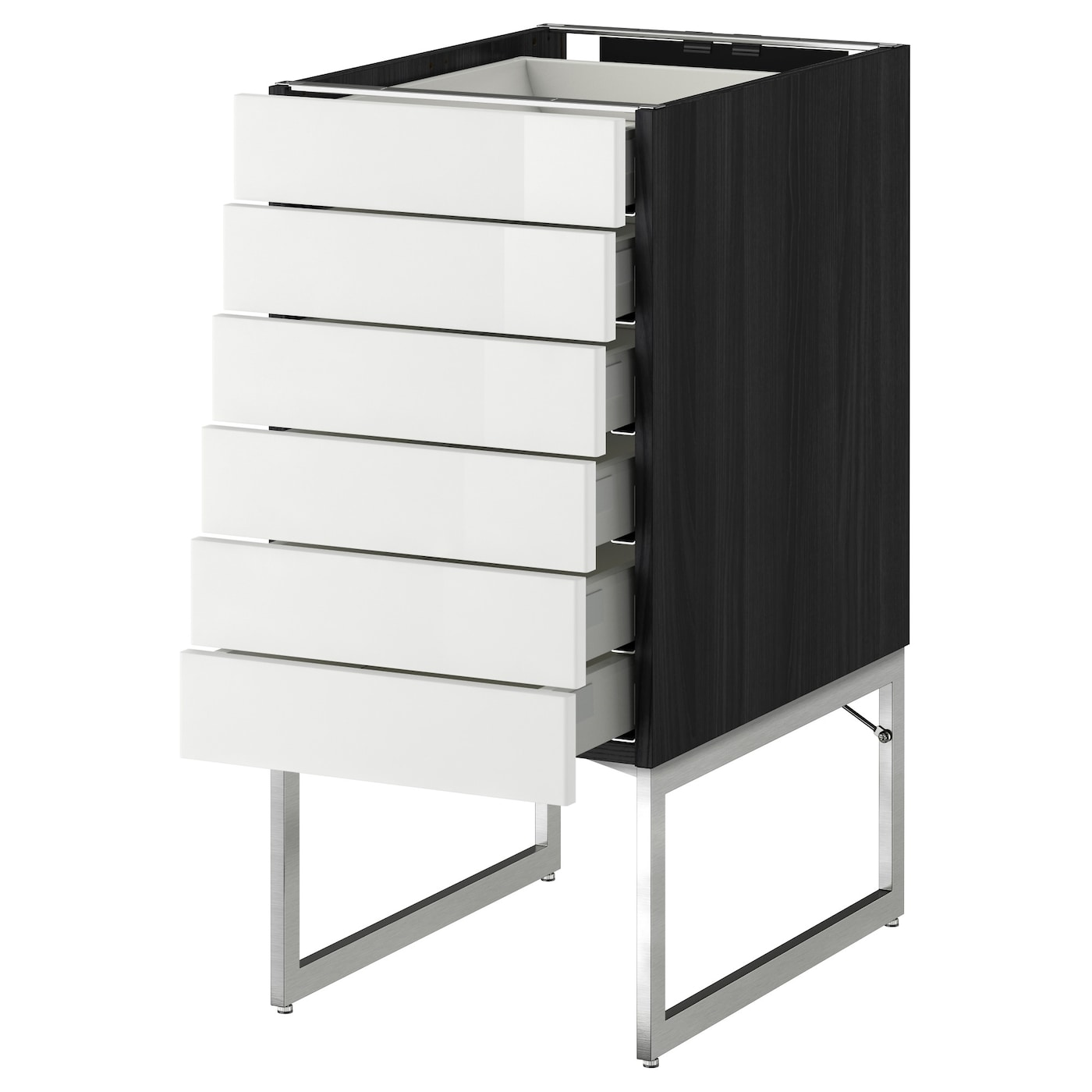 Metod Maximera Base Cabinet 6 Fronts 6 Low Drawers Black Ringhult White 40x60x60 Cm Ikea