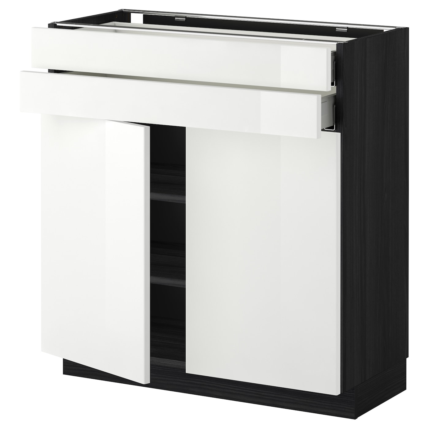 Metod maximera base cabinet w 2 doors 2 drawers black for Black kitchen base cabinets