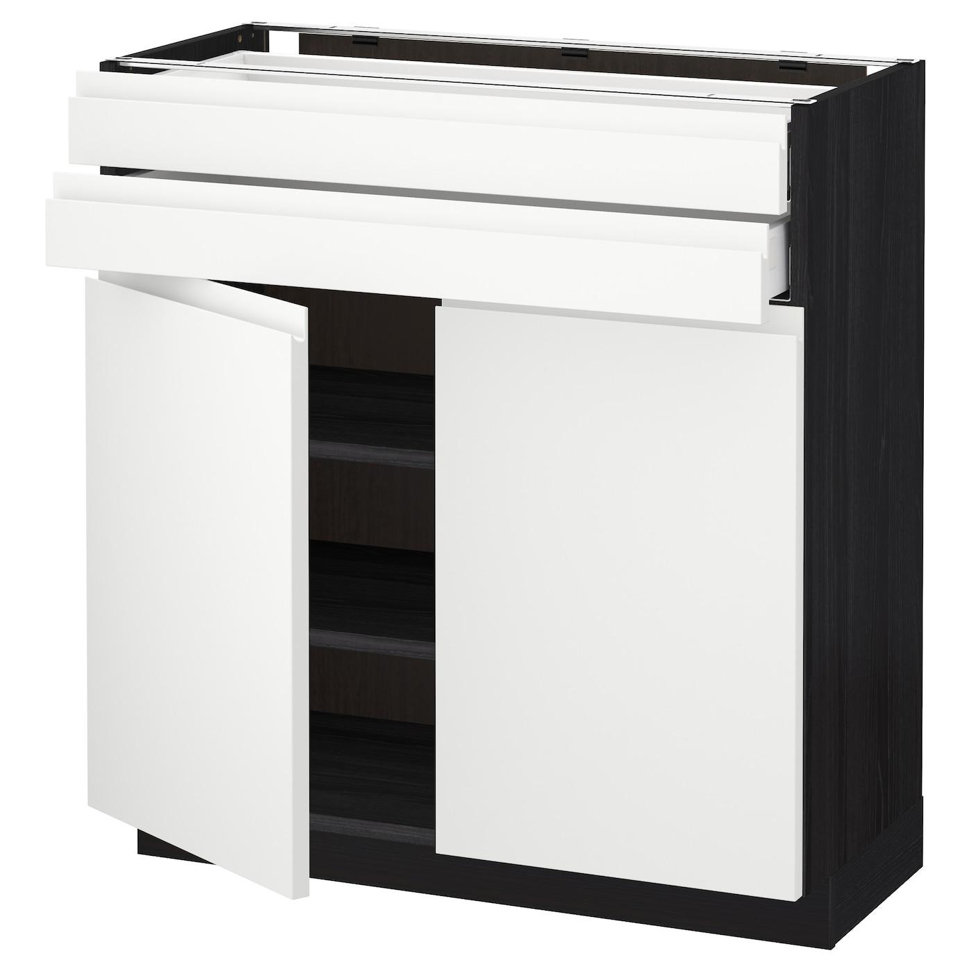 Metod maximera base cabinet w 2 doors 2 drawers black for Black kitchen base cabinets