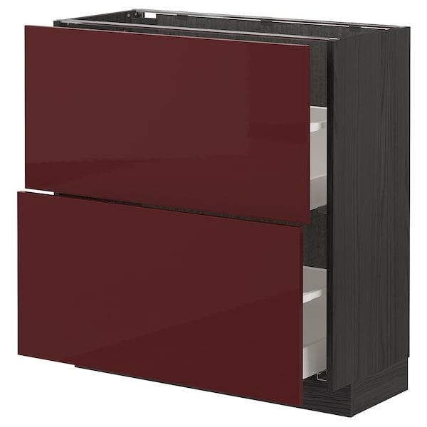 METOD / MAXIMERA Base cabinet with 2 drawers, black Kallarp/high-gloss dark red-brown, 80x37 cm