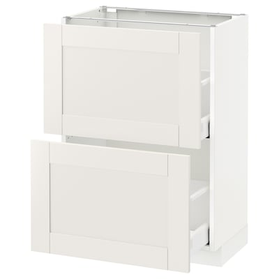 METOD / MAXIMERA base cabinet with 2 drawers white/Sävedal white 60.0 cm 39.4 cm 88.0 cm 37.0 cm 80.0 cm