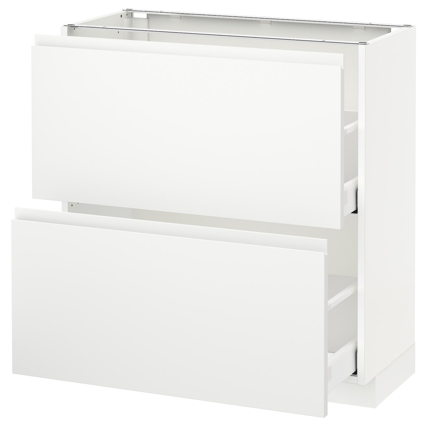 metod maximera base cabinet with 2 drawers white voxtorp white 80x37 cm ikea. Black Bedroom Furniture Sets. Home Design Ideas