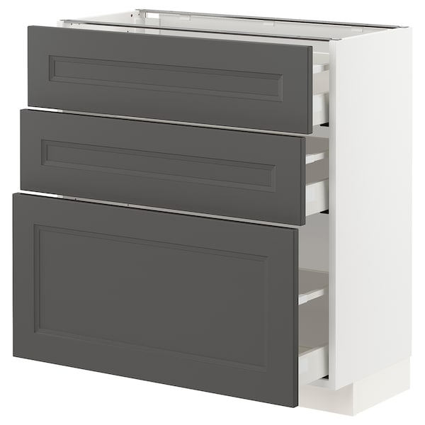 METOD / MAXIMERA Base cabinet with 3 drawers, white/Axstad dark grey, 80x37 cm