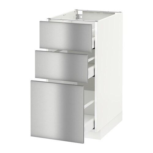 Metod Maximera Base Cabinet With 3 Drawers White Grevsta