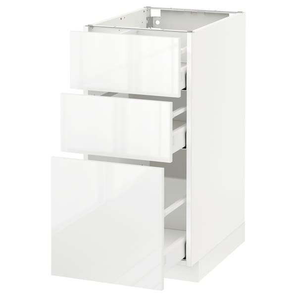 METOD / MAXIMERA Base cabinet with 3 drawers, white/Ringhult white, 40x60 cm