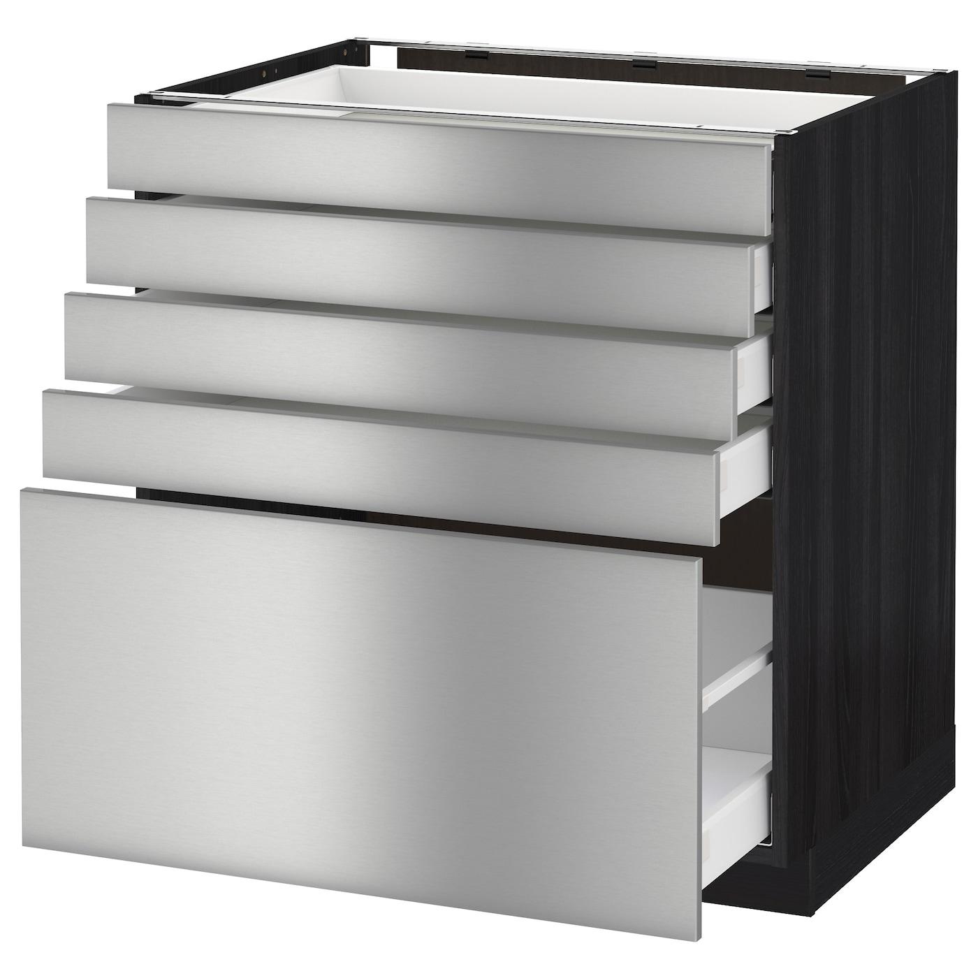 metod maximera base cabinet with 5 drawers black grevsta stainless steel 80x60 cm ikea. Black Bedroom Furniture Sets. Home Design Ideas