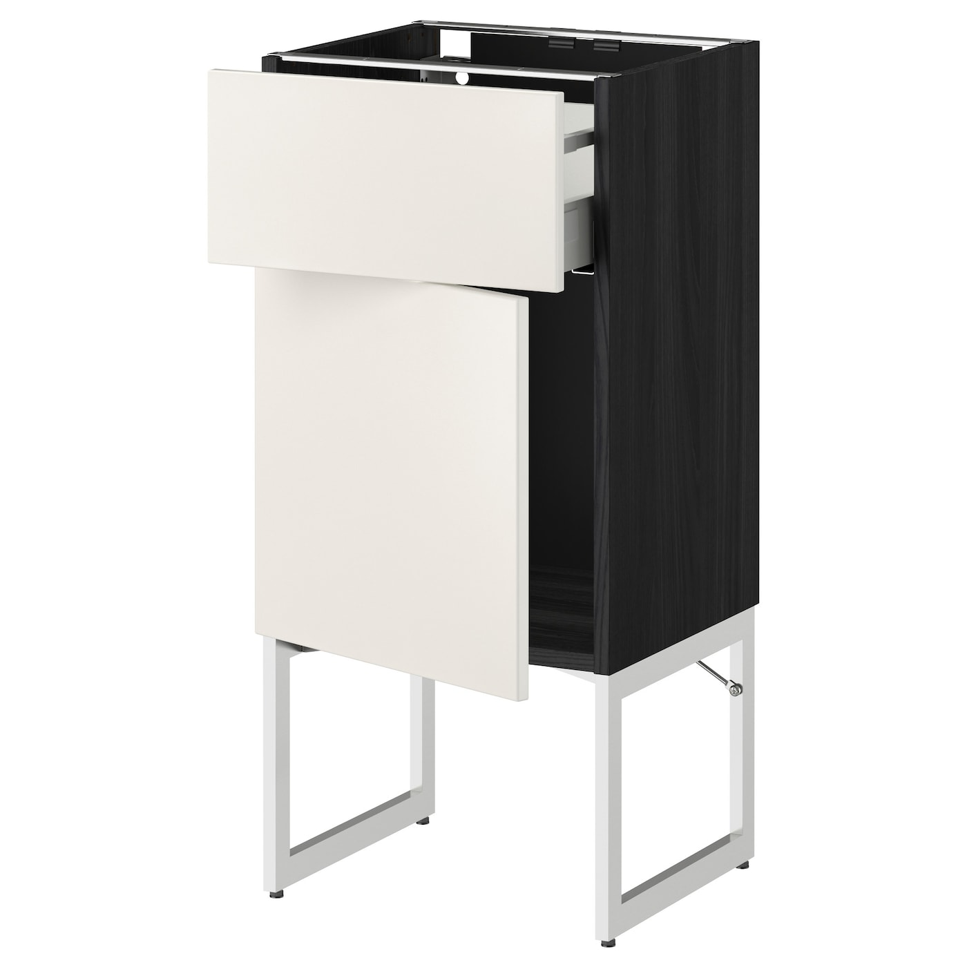 metod maximera base cabinet with drawer door black veddinge white 40x37x60 cm ikea. Black Bedroom Furniture Sets. Home Design Ideas