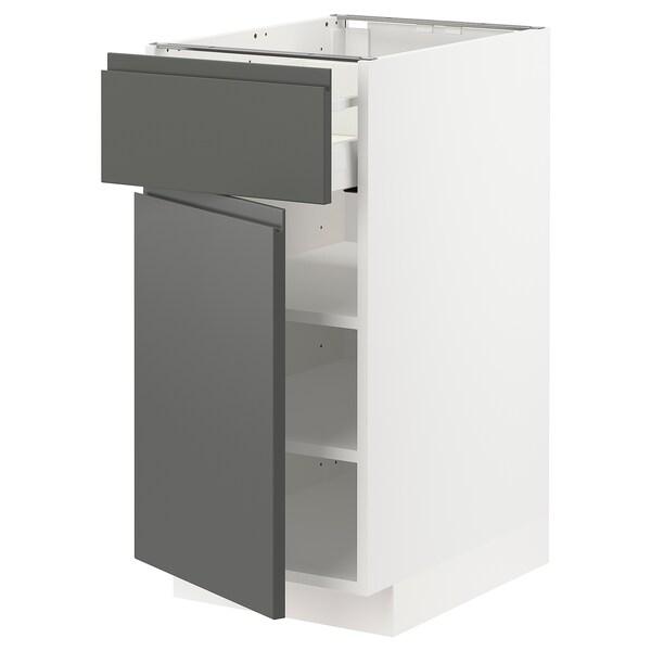 METOD / MAXIMERA Base cabinet with drawer/door, white/Voxtorp dark grey, 40x60 cm