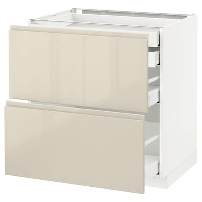METOD / MAXIMERA Base cb 2 frnts/2 low/1 md/1 hi drw, white/Voxtorp high-gloss light beige, 80x60 cm