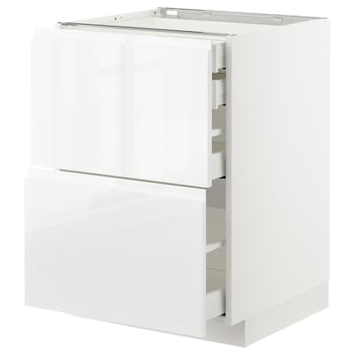 METOD / MAXIMERA base cb 2 frnts/2 low/1 md/1 hi drw white/Voxtorp high-gloss/white 60.0 cm 62.1 cm 88.0 cm 60.0 cm 80.0 cm