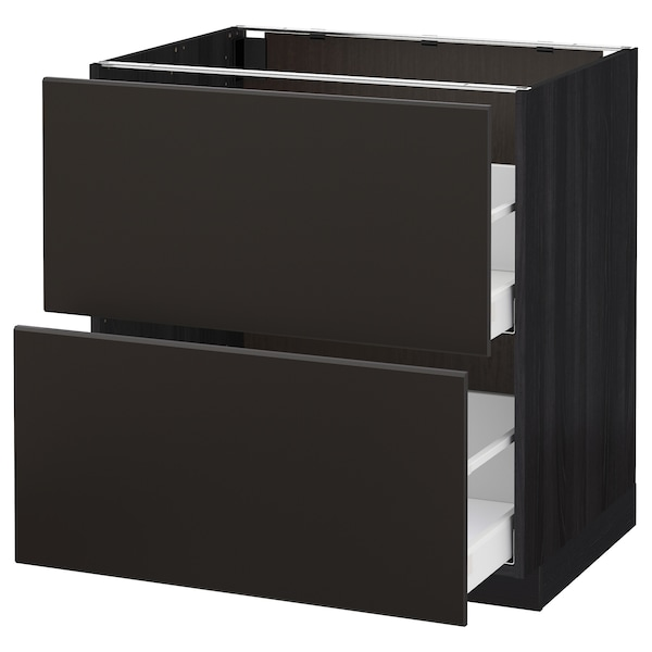 METOD / MAXIMERA Base cb 2 fronts/2 high drawers, black/Kungsbacka anthracite, 80x60 cm