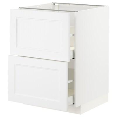 METOD / MAXIMERA Base cb 2 fronts/2 high drawers, white/Axstad matt white, 60x60 cm