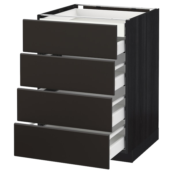 METOD / MAXIMERA Base cb 4 frnts/2 low/3 md drwrs, black/Kungsbacka anthracite, 60x60 cm