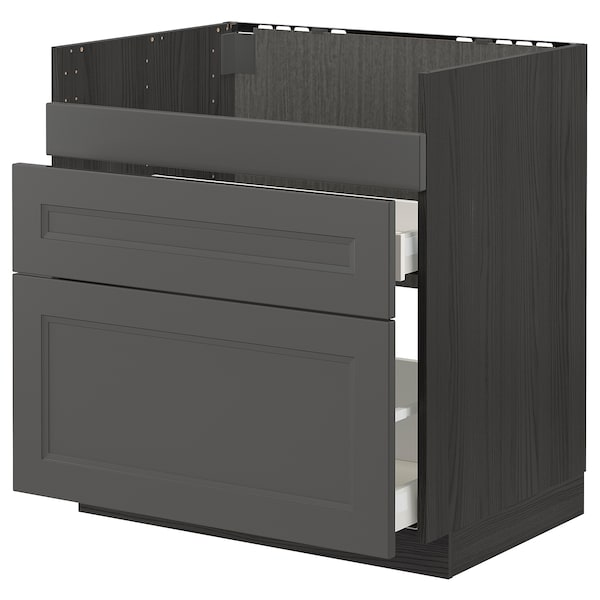 METOD / MAXIMERA base cb f HAVSEN snk/3 frnts/2 drws black/Axstad dark grey 80.0 cm 61.9 cm 88.0 cm 60.0 cm 80.0 cm