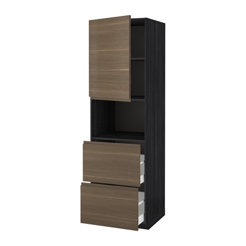 IKEA METOD/MAXIMERA hi cab f micro w door/2 drawers Sturdy frame construction, 18 mm thick.